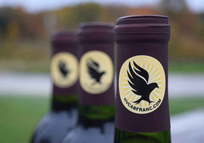 wine bottle necks with hawk logo