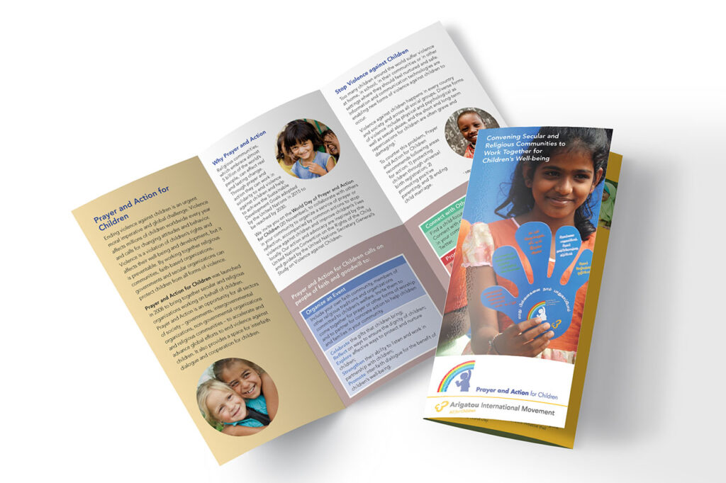 trifold brochure with childrens photos