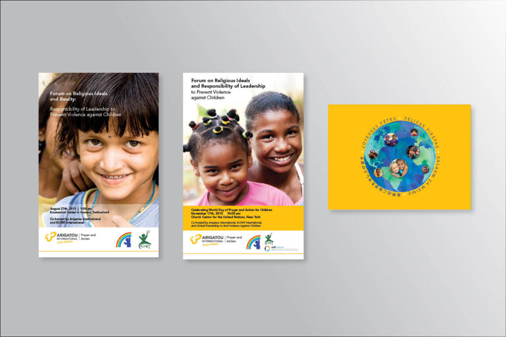 several brochure covers on gray background